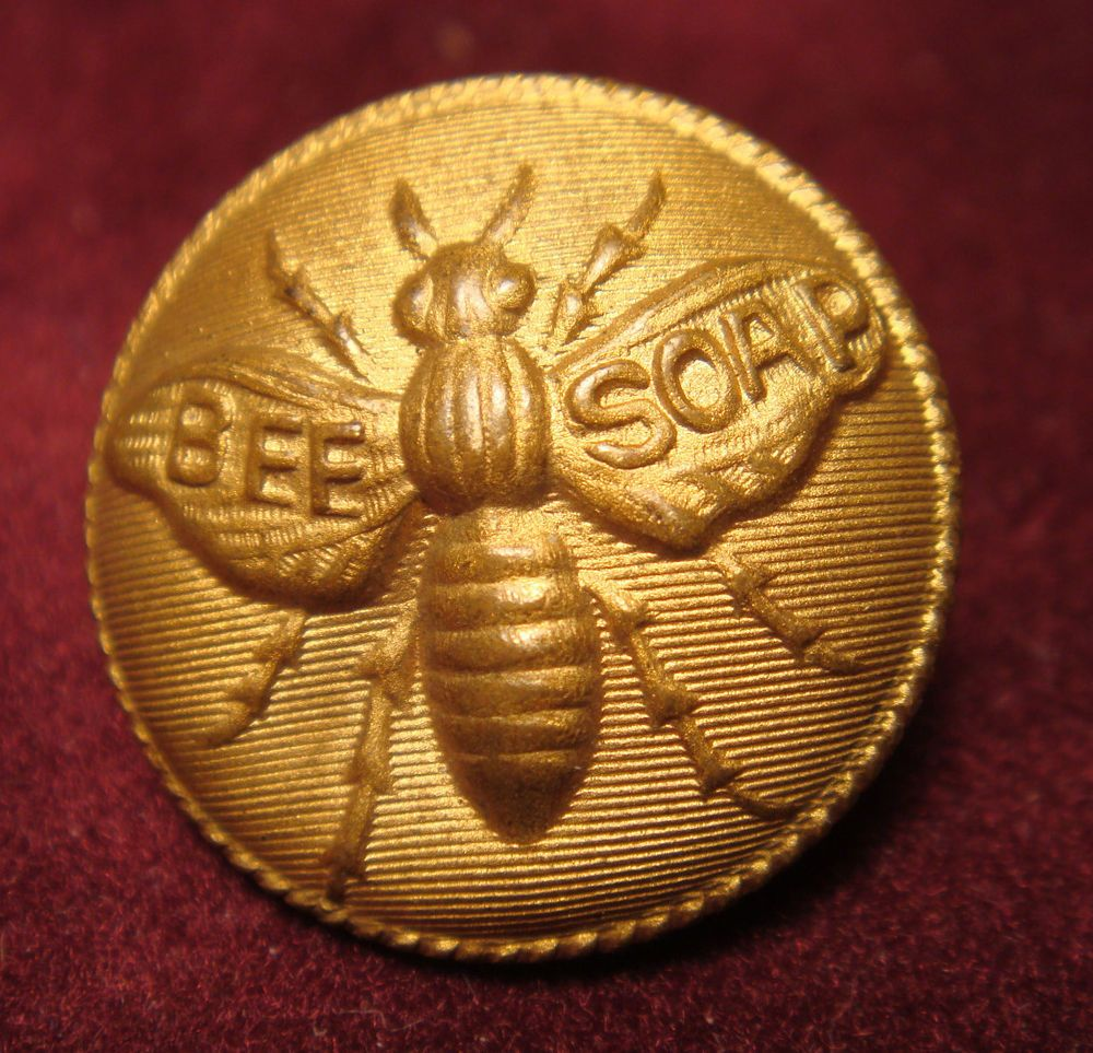 Rare antique bee soap insect advertising button nice detail
