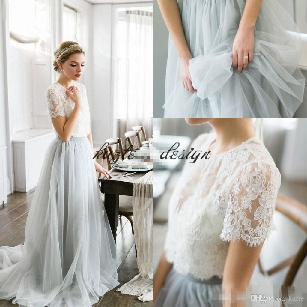 ff65f0ec9ab9 Country Bohemian Two Pieces Wedding Dresses 2018 Dusty Blue Top Lace Short  Sleeves Illusion Bodice Tulle Skirt Cheap Wedding Gowns Mermaid Wedding  Dress ...