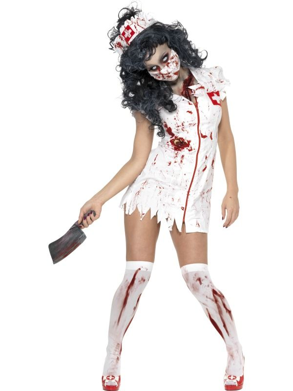 Adult Zombie Nurse Fancy Dress Undead Halloween Horror Costume UK 8 - halloween horror costume ideas