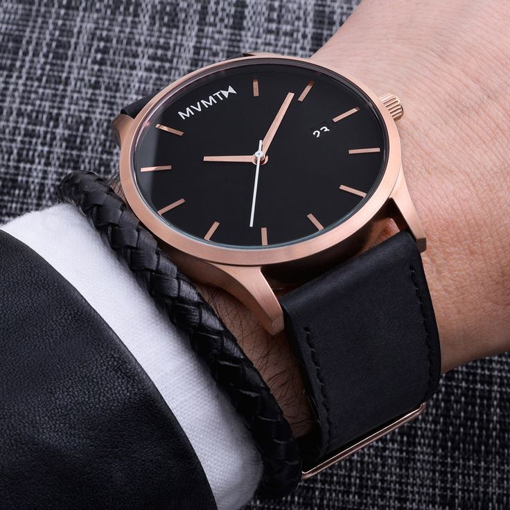 7580fb0d86418 Men s Rose Gold cased Black leather watch from MVMT Watches. This Black  leather version is a versatile watch