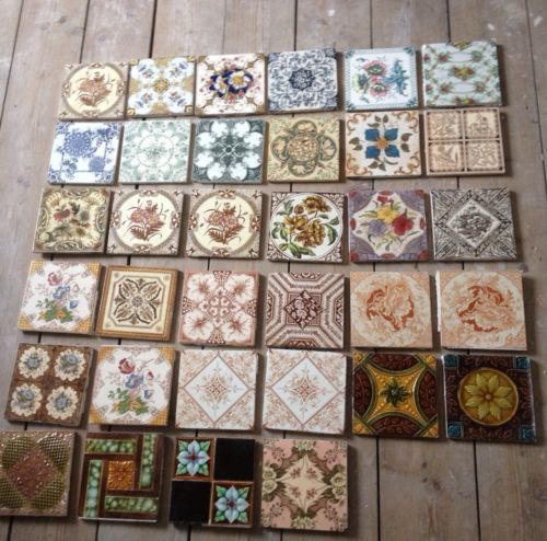 job lot of assorted victorian hearth or fireplace tiles. Black Bedroom Furniture Sets. Home Design Ideas