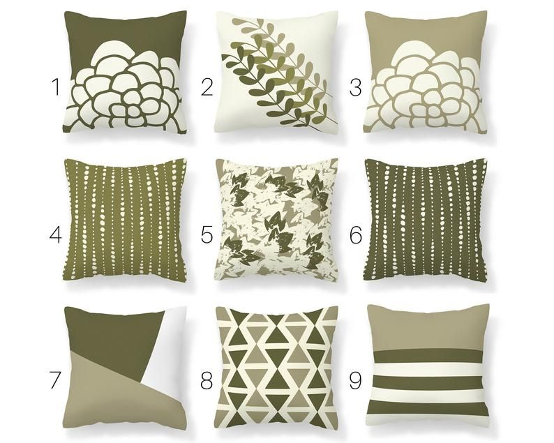 sage olive green throw pillow cover mix