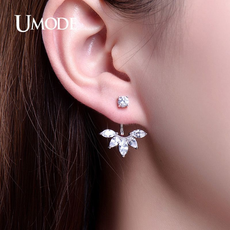 UMODE Fashion Earring Jewelry Zirconia Crystal Ear Jackets Jewelry Leaf Ear Stud Earrings For Women Boucle D'oreille Aros UE0242
