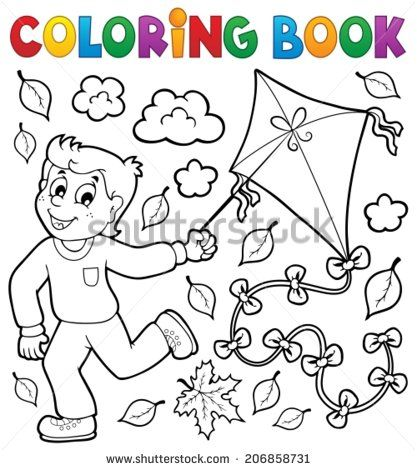 Coloring Pages Of Child Flying Kites Coloring Book With Boy And