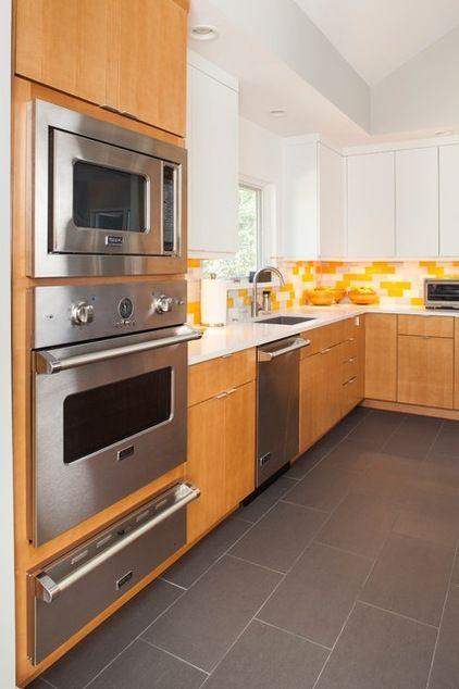Houzz Tour Making Midcentury Modern Work For Modern Times Grey Tile Kitchen Floor Kitchen Design Kitchen Floor Tile