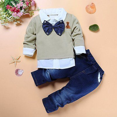 984083b4bed6 2pcs Kids Baby Boys Gentleman Coat Shirt Tops+Denim Pants Clothes ...