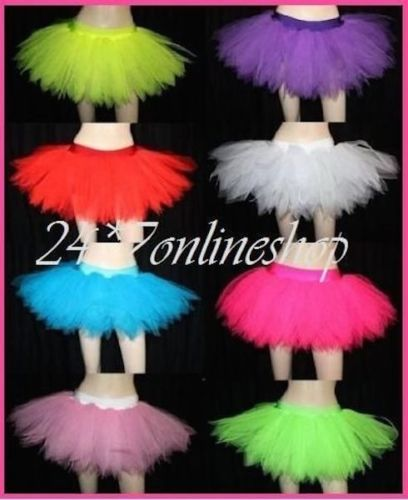 Long Neon UV 7 Layer Tutu Skirt Dance Wear Hen Night Party Club Rave Fancy Dress