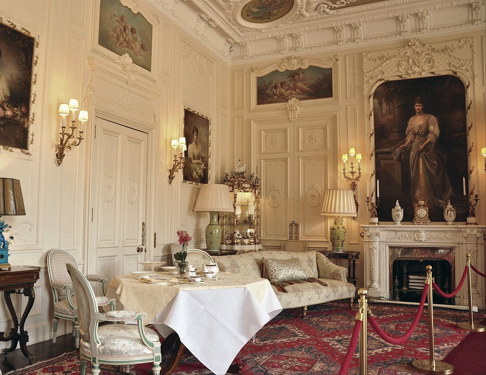 Today A close up of the small side of the White Drawing Room with
