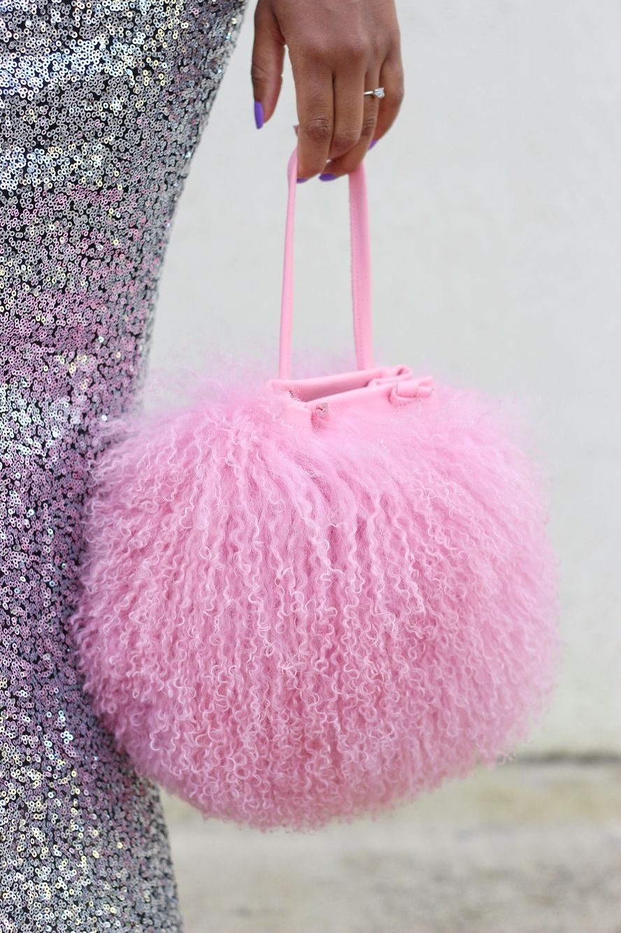 fd9f335a0038 NEW! Cotton Candy Mongolian Fur   Leather Drawstring Mini