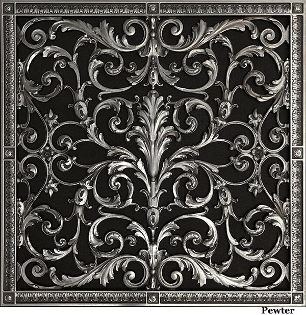 Decorative return air vent grille in Louis XIV Style 24x24