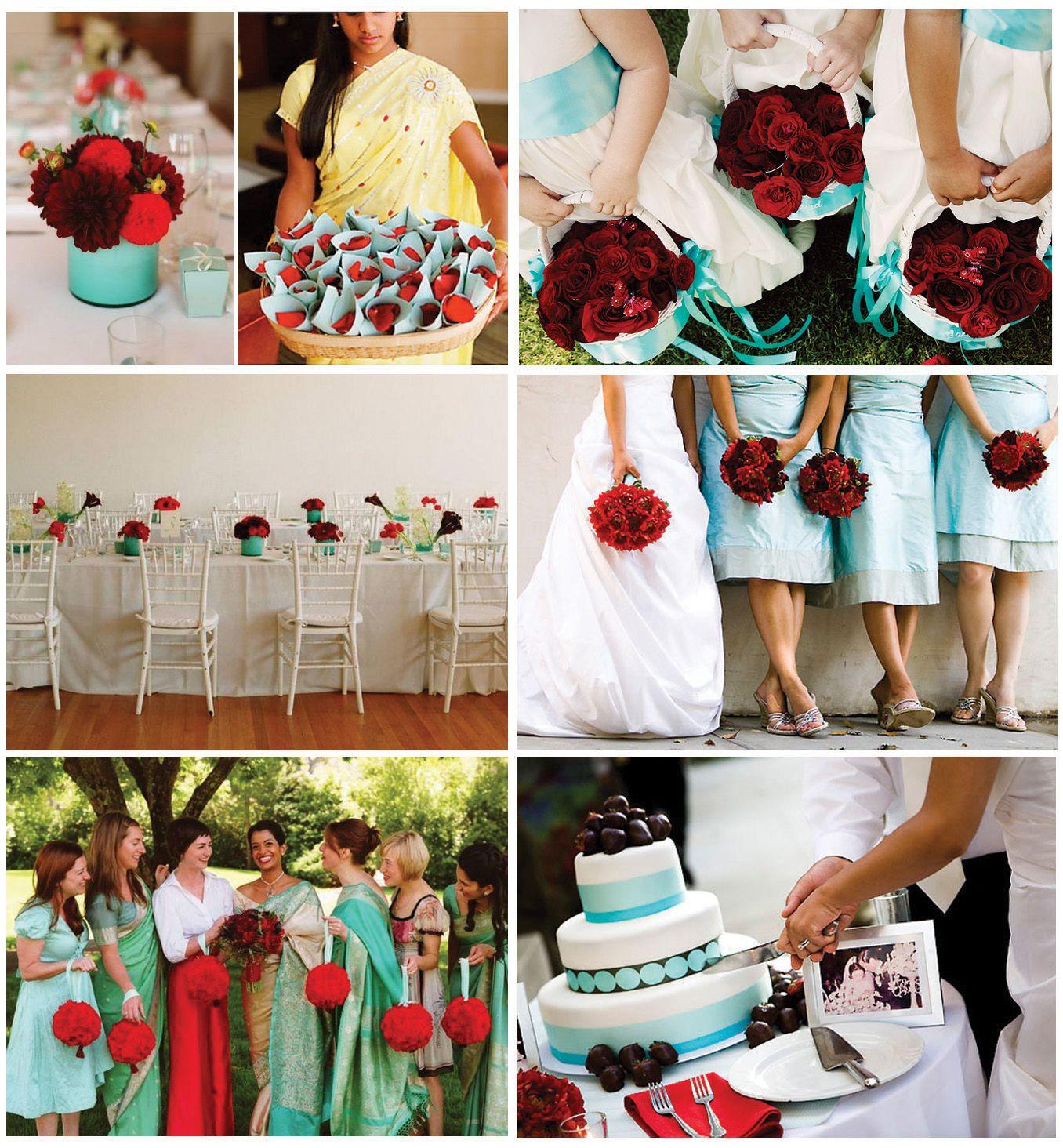 aqua and poppy   Aqua wedding colors, Weddings and Wedding