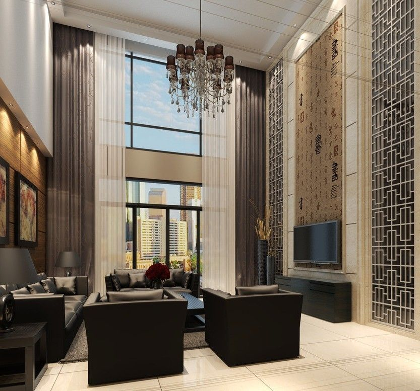 Luxury Home Interior Design Ideas Contemporary In China: I Like The Chinese Calligraphy Wall In This Living Room
