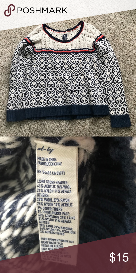 9e88f3388ba8 American Eagle Sweater Off White sweater with navy and orange design. Nice  and warm just in time for fall! American Eagle Outfitters Sweaters Crew    Scoop ...