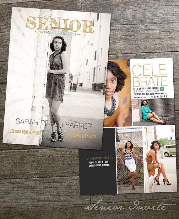 the parkers 5x7 senior announcement card by frankandfrida on etsy