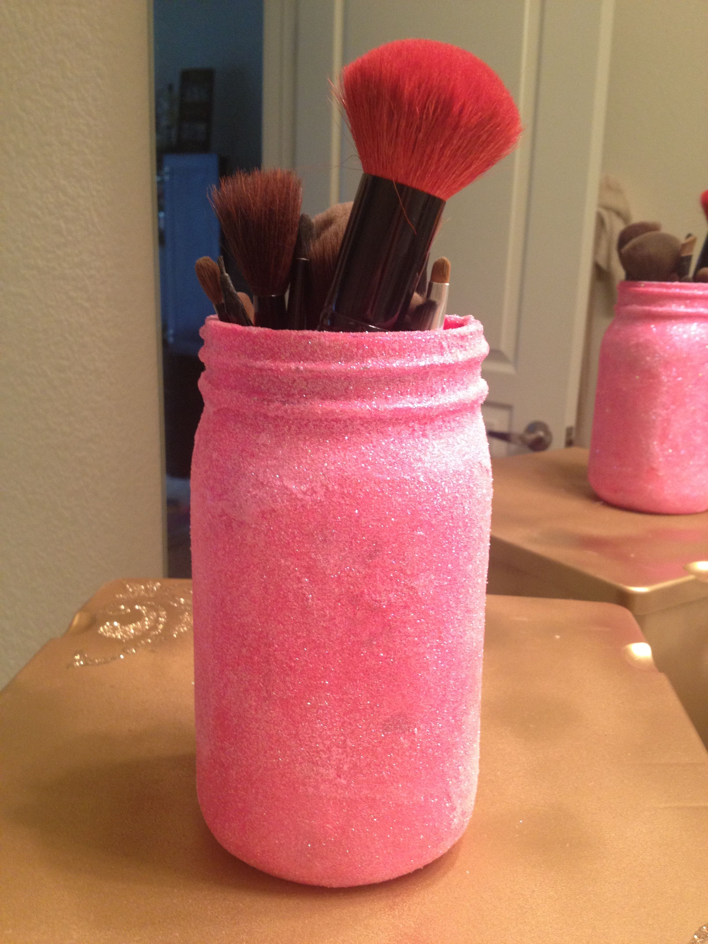 Pink glitter makeup brush holder jar Pink glitter makeup