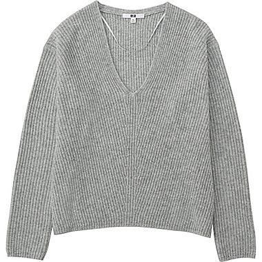 WOMEN CASHMERE BLEND V-NECK SWEATER, LIGHT GRAY | BEERS ...