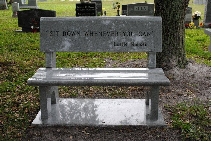 Gravestone Benches Part - 43: Leslie Nielsenu0027s Grave Is A Park Bench., I Want A Bench As My Tombstone