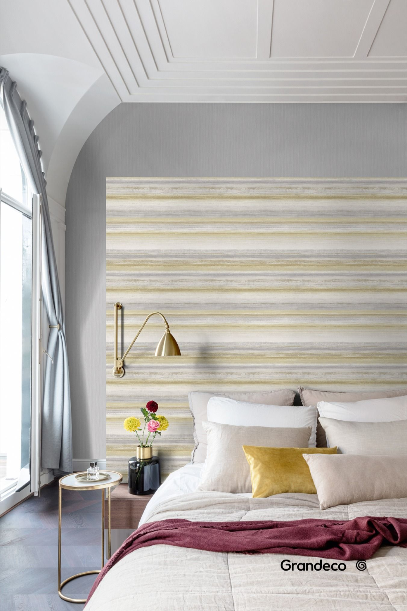 The Muze Wallpaper is a soft textured horizontal painted