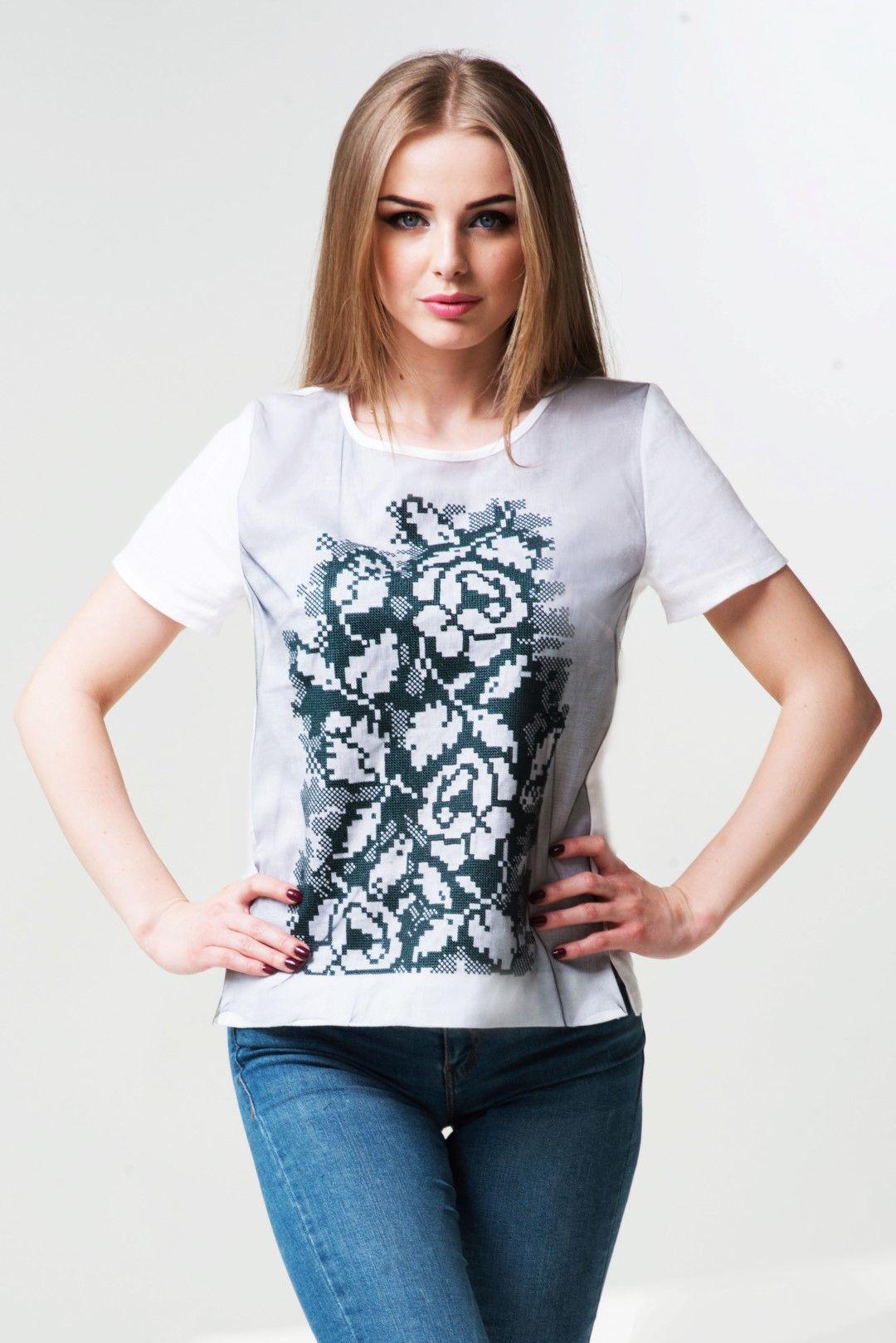 Жіноча вишита сорочка на короткий рукав (498) - льон  9bb47f552e65e