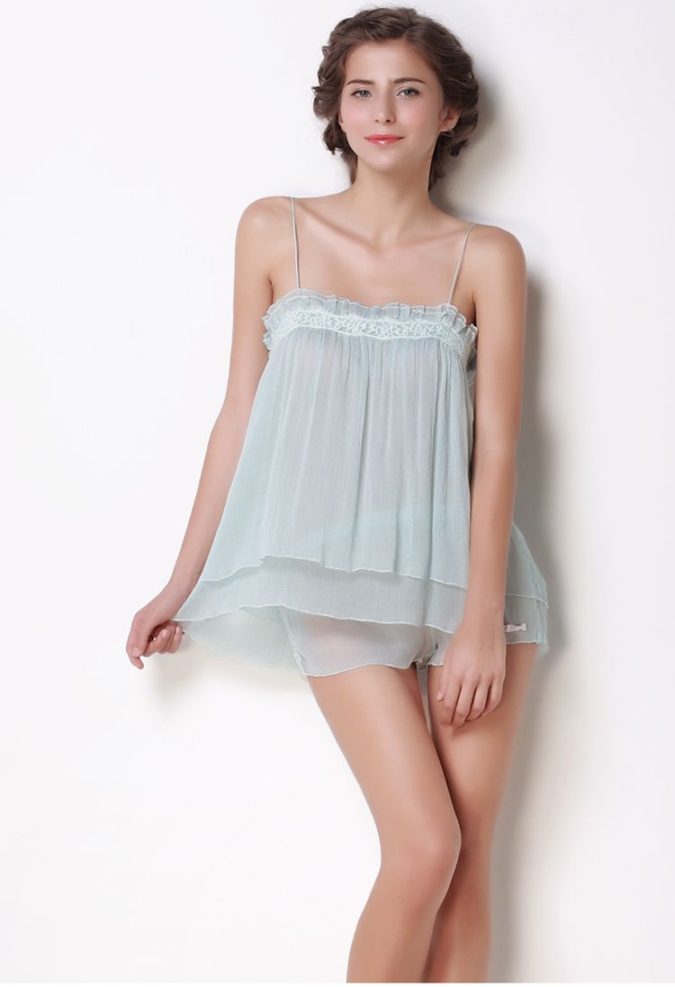 ceb468e10 Slsp0032Lightyellow,100% Georgette Silk Sweetheart Empire Lace Slip -  Sleepwear,$118.98,