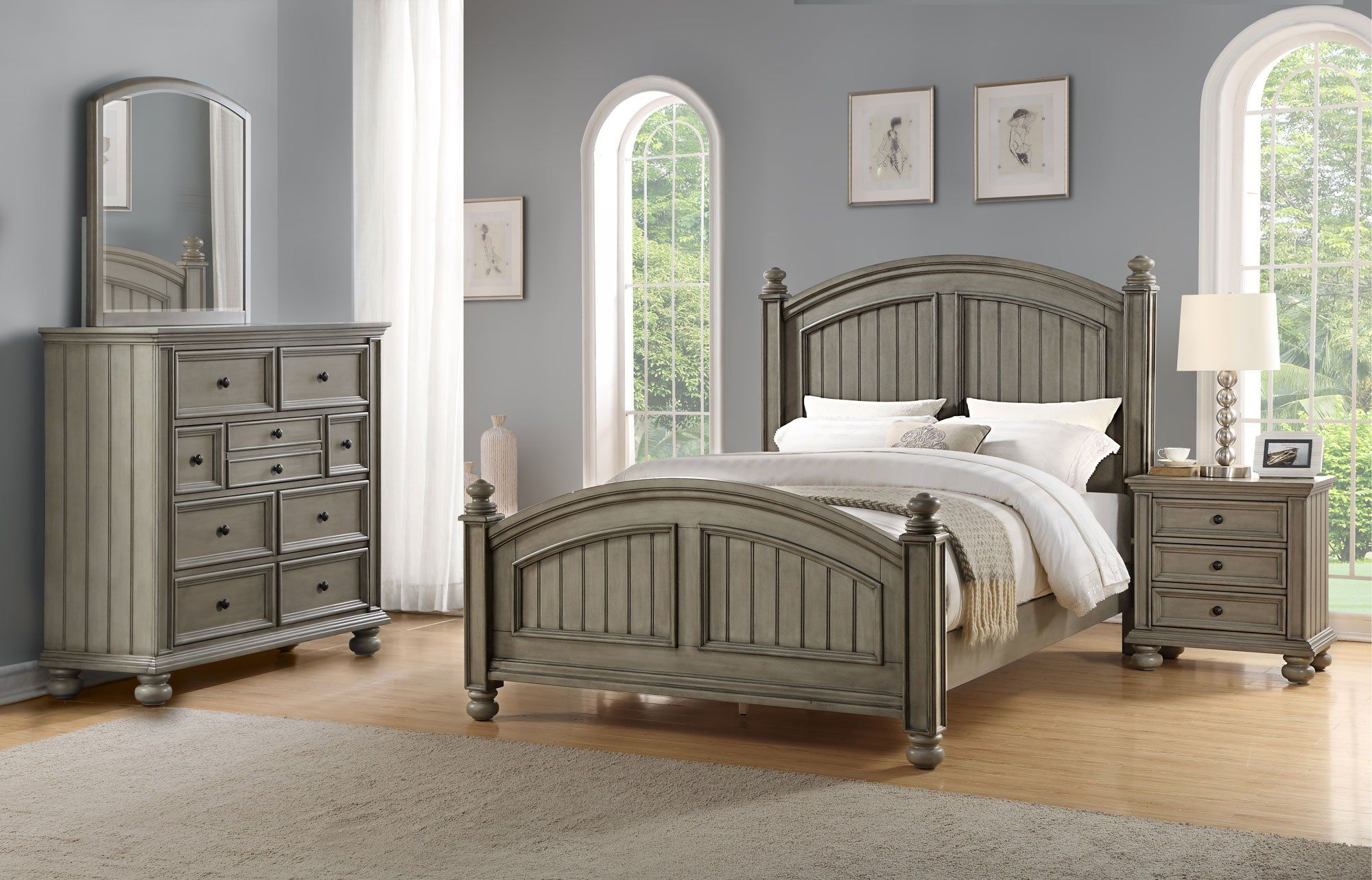 Casual Classic Gray 4 Piece California King Bedroom Set