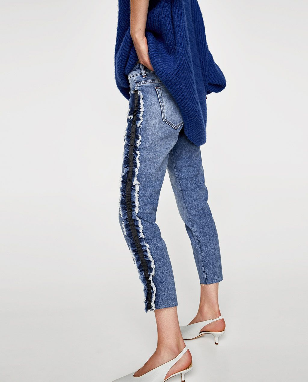 9e74f9329c1c5b JEANS WITH SIDE FRILL-Skinny-JEANS-WOMAN | ZARA United States ...