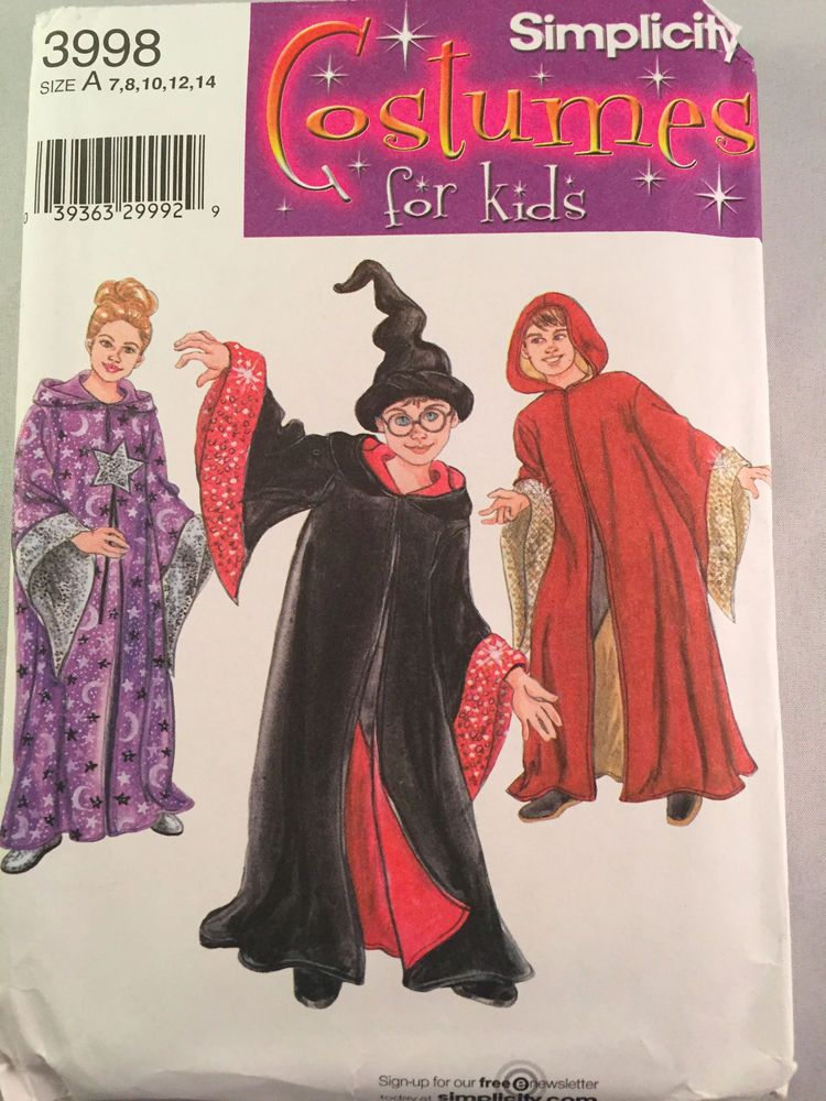 Simplicity 3998 Harry Potter Cape Hat Wizard Sewing Pattern Childs ...
