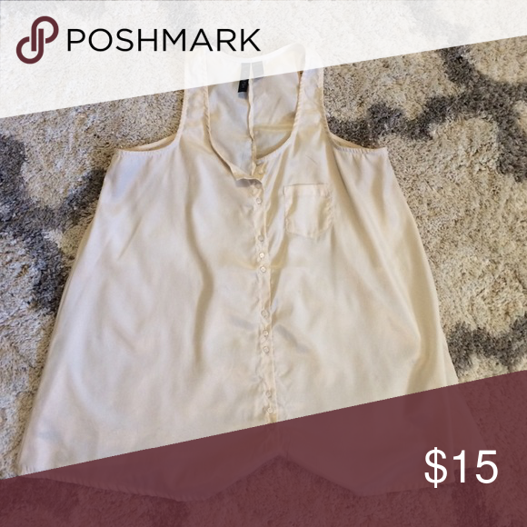 Cream top Cream top with side pocket Tops Blouses
