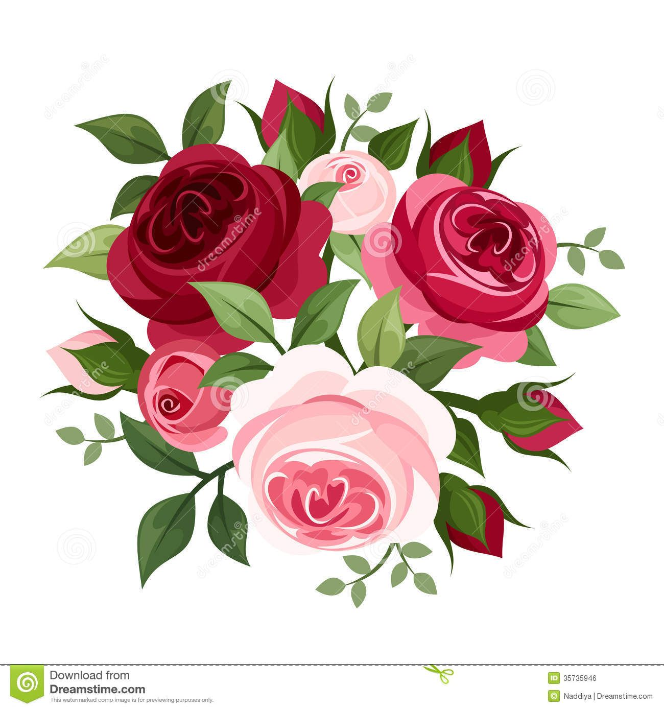 Vector Art Ilrations Clipart Red And Pink Roses Black Silhouette