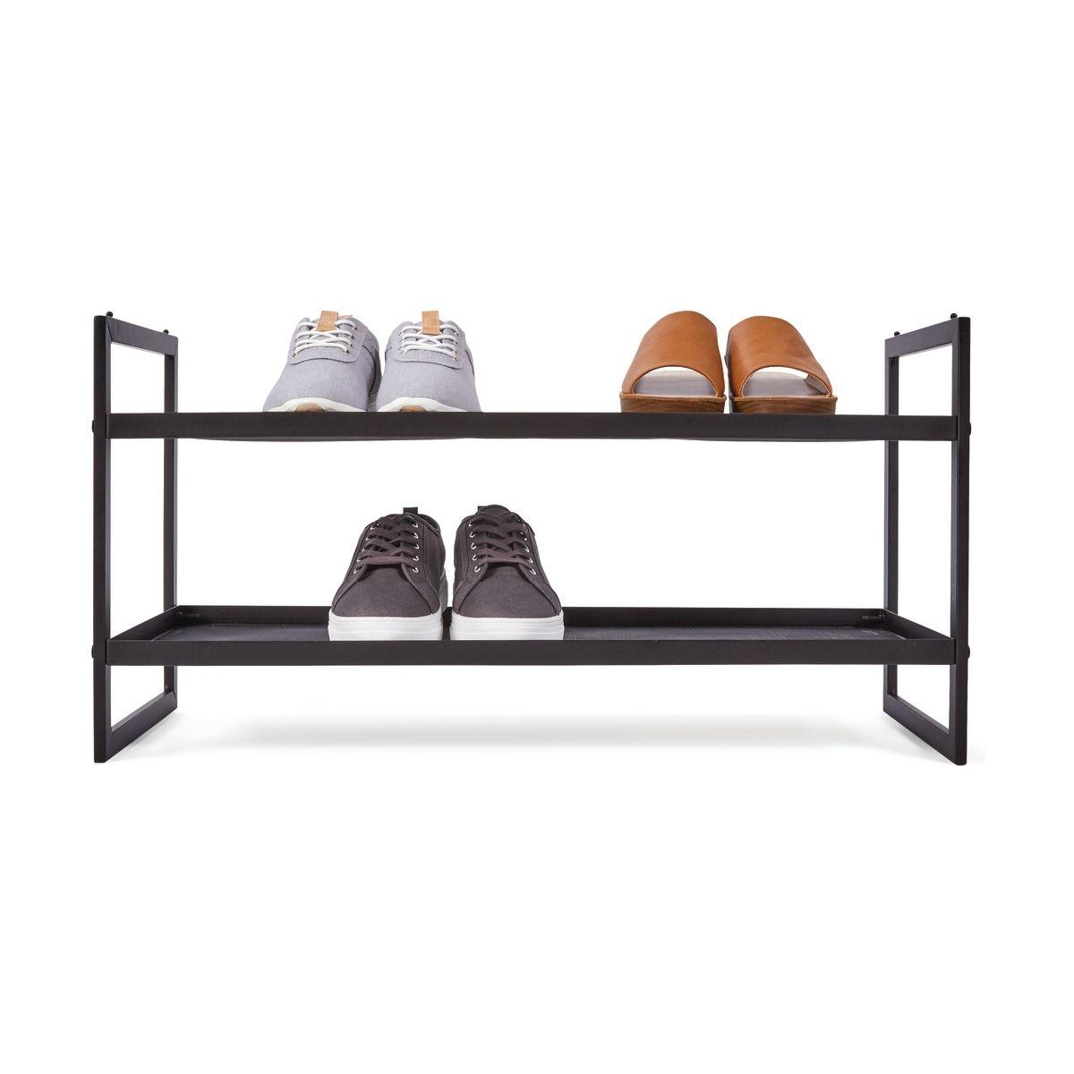 2 Tier Metal Stackable Mesh Shoe Rack Shoe Rack Stackable Shoe
