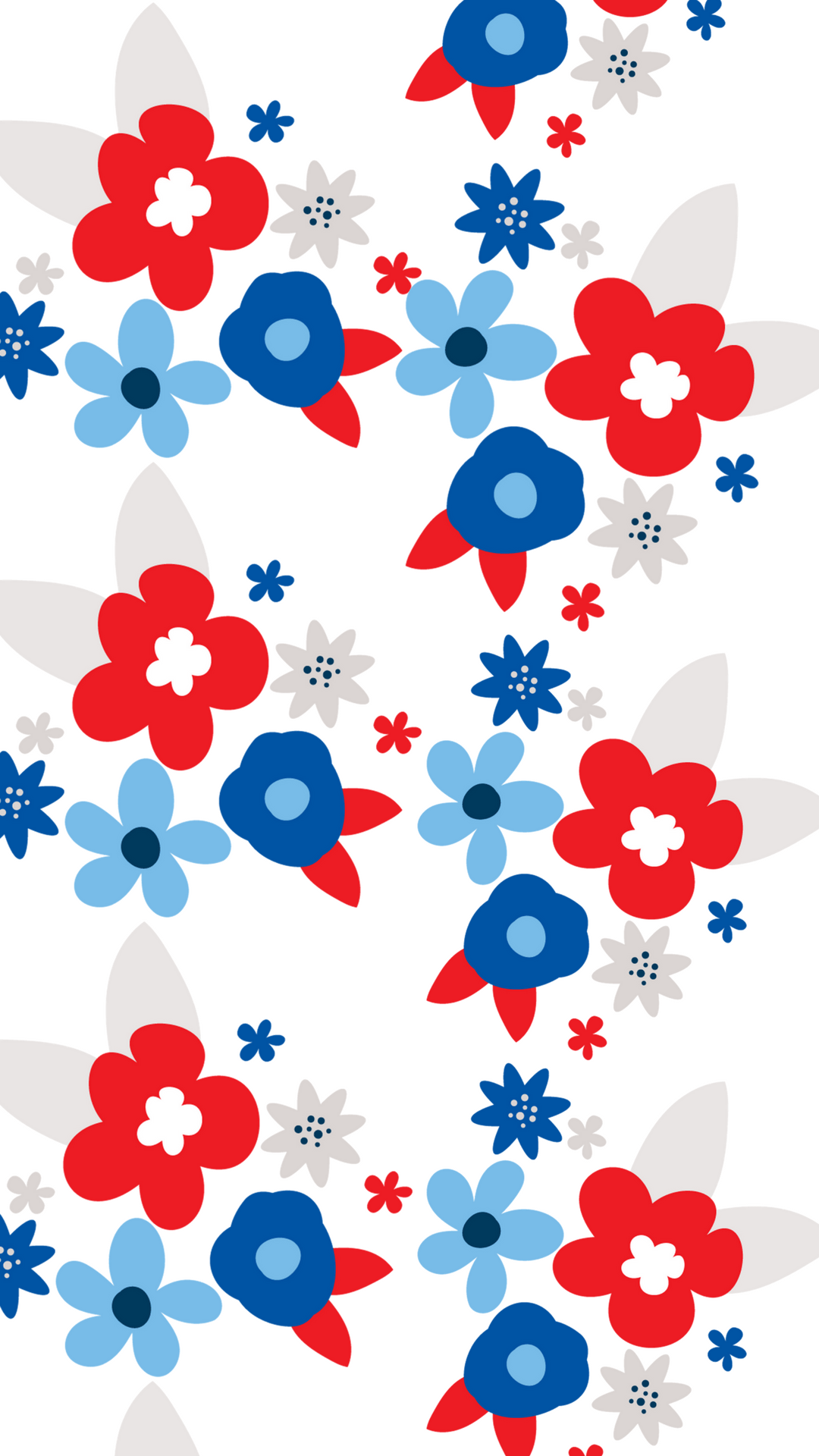 Red White And Blue Floral Smart Phone Wallpaper Blue Wallpaper Iphone Flower Wallpaper Cute Patterns Wallpaper