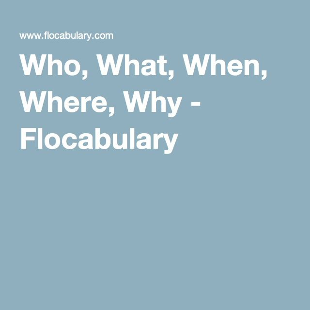 Who, What, When, Where, Why - Flocabulary