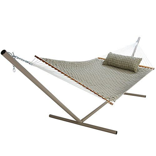 Pawleys Island Hammocks Flax Large Soft Weave Hammock  Sink into oblivion in a quilted hammock bed more comfortable than sleeping on air. This hammock features the advantage of rope (lets air flow through the hammock body) and the advantages of a quilted hammock (extra padded comfort and added support). Constructed of interwoven ribbon with under/over weave pattern for added cushion support this hammock features 1 polyester batting fill for premium comfort. Solution dyed acrylic fabr..