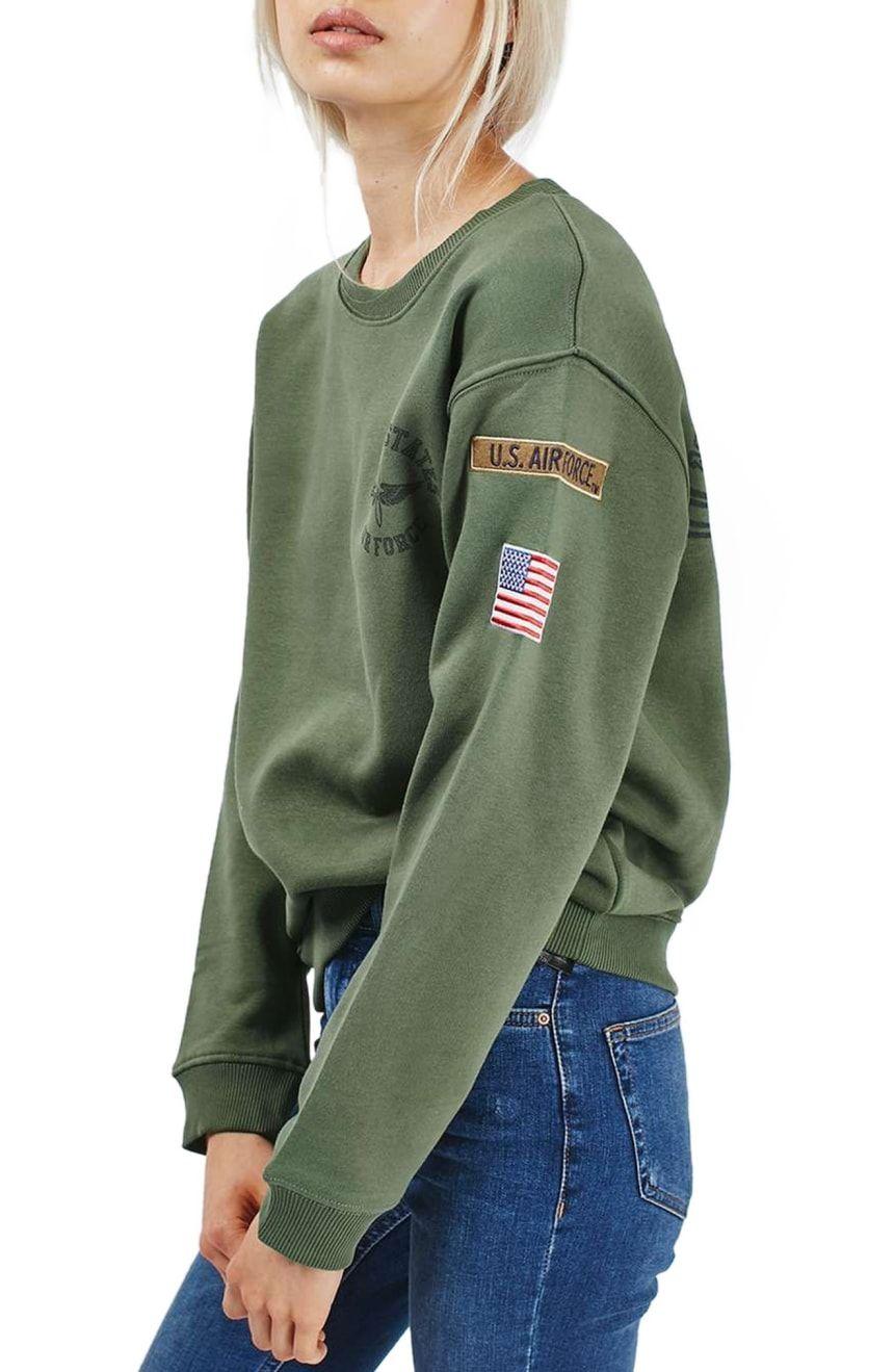Topshop By Tee Cake Air Force Sweatshirt Nordstrom Sweatshirts Air Force Sweatshirt Army Clothes [ 1319 x 860 Pixel ]