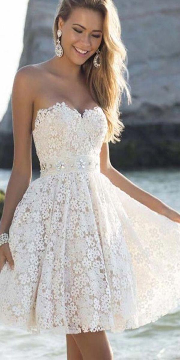Elegant Sweatheart Knee Length Short White Homecoming Prom Dresses PG184