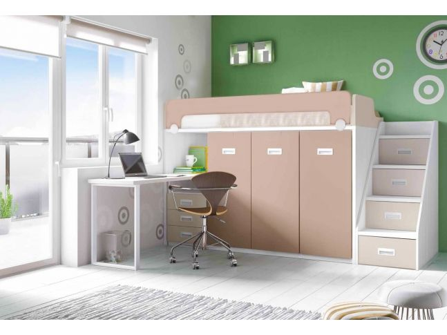 lit mezzanine avec bureau personnalisable f260 glicerio. Black Bedroom Furniture Sets. Home Design Ideas