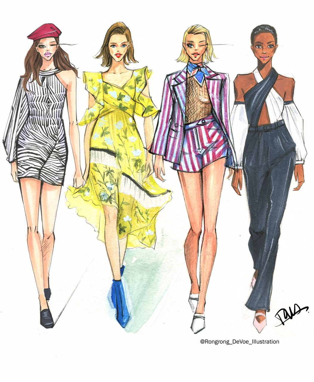 Fashion Sketches Inspired By New York Fashion Week Ss18 Season Fashion And Beauty Illustrator Rongrong Devoe Fashion Sketches Fashion Illustration Fashion Design