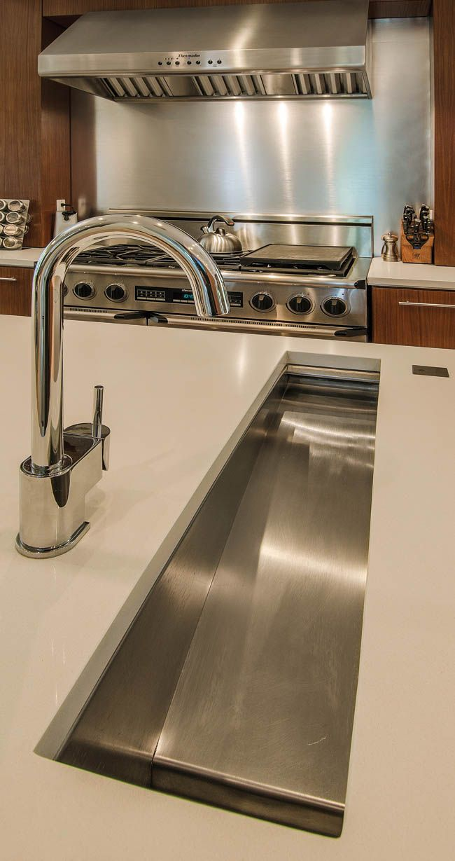In-island trough sink makes prep so much easier. #housetrends ...