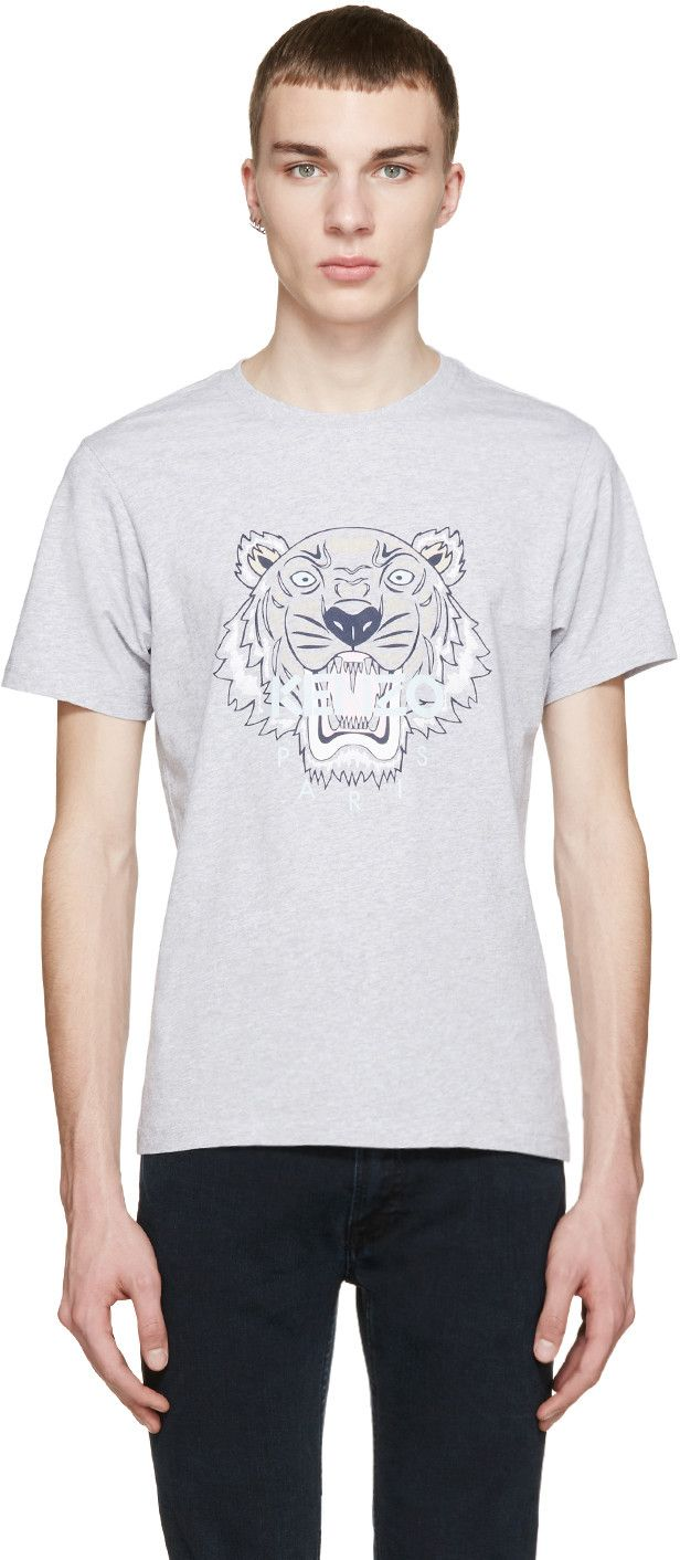 KENZO Ssense Exclusive Grey Tiger Logo T-Shirt. #kenzo #cloth #t-shirt