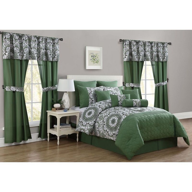 Queen Size Comforter Set Bedding 20 Piece Bed In A Bag Bedspread Curtains Green Queen Size Comforter Sets Comforter Sets Hotel Bedding Sets