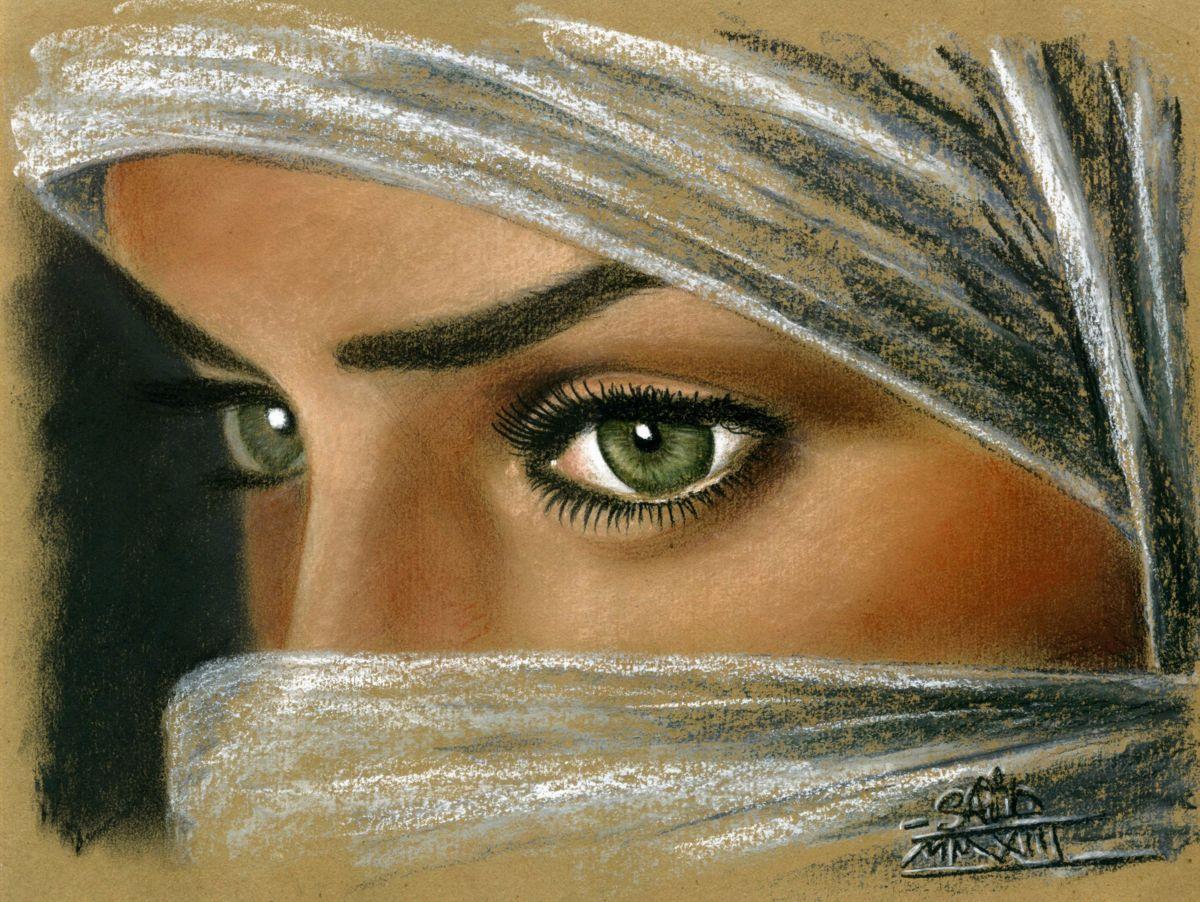 Regard Troublant Peinture 30×40 Cm Par Sa D Serge Berkane