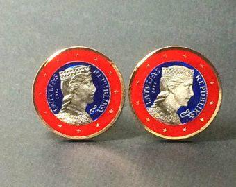 France enameled coin cufflinks Euro Dollar 23mm
