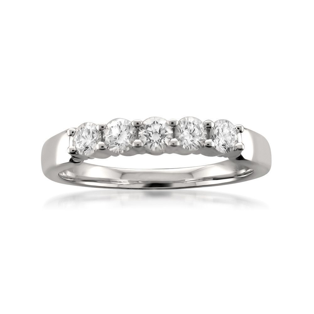 Platinum 5 Stone Round Diamond Bridal Wedding Band Ring 1 2 Cttw