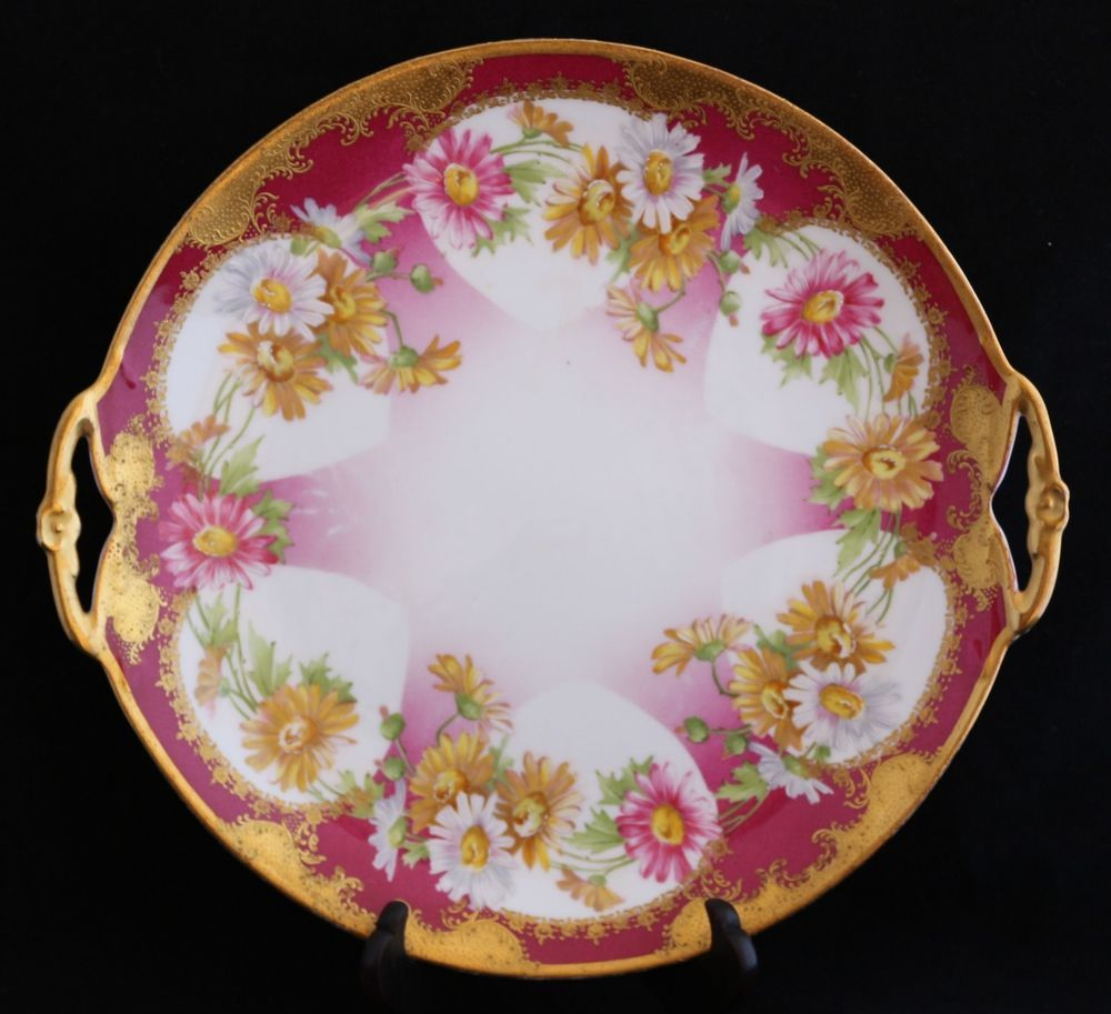Antique Hand Painted Limoges Coronet pink yellow white flowers Cake ...