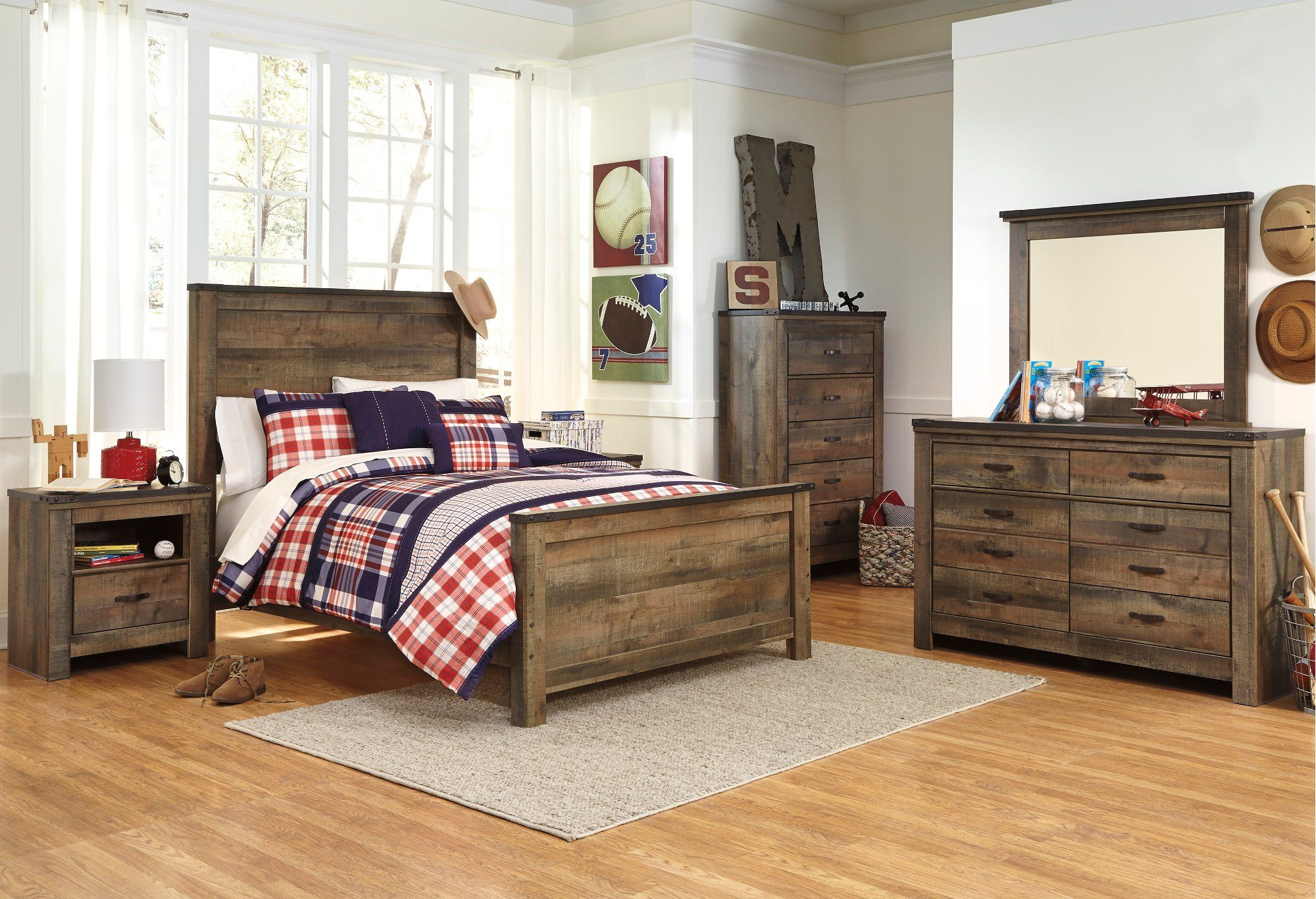 Contemporary Rustic Oak 4 Piece Full Bedroom Set Trinell