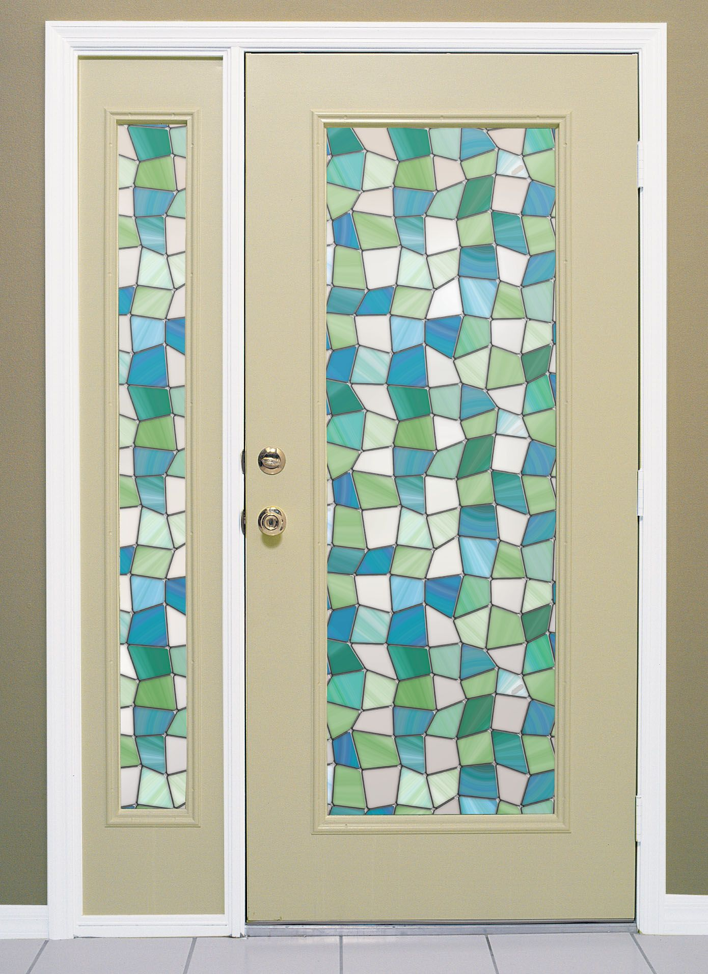 Window film not this pattern but site for that frosted glass atlantis stained glass window film on front door and sidelight glass planetlyrics Choice Image