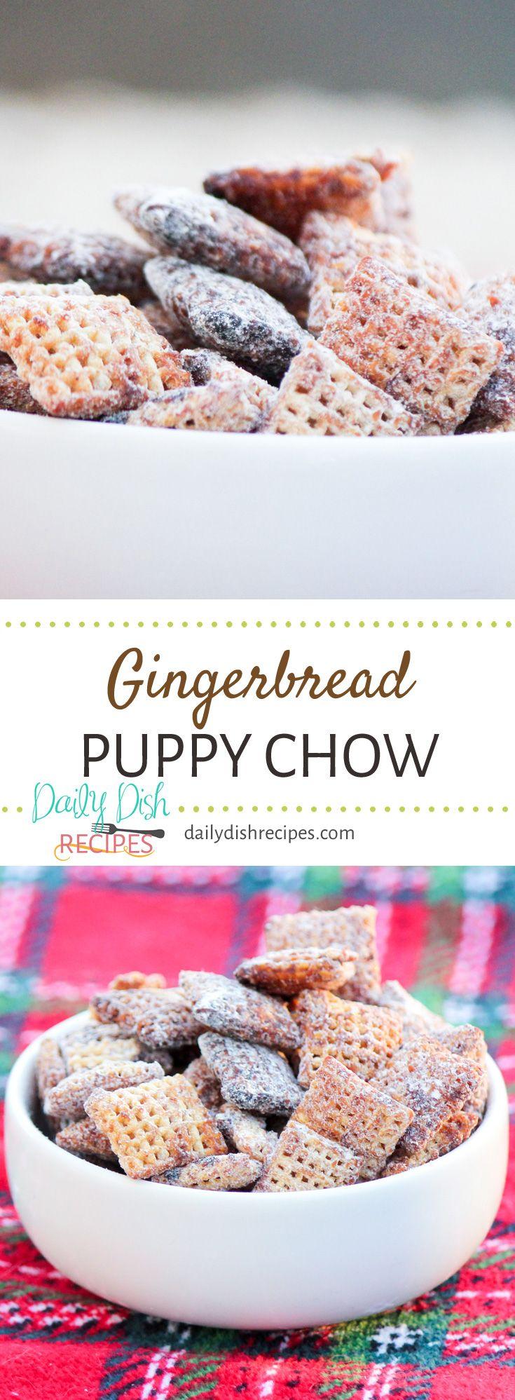 Gingerbread Puppy Chow Snack Mix via dailydishrec…Edit