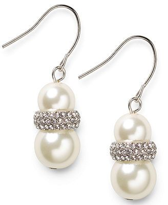 Lauren Ralph Lauren Silver-Tone Double Glass Pearl and Pave Crystal Drop Earrings macys