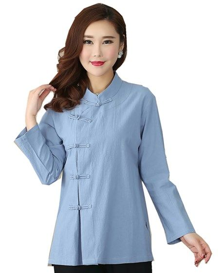 761d3cdc62f Shanghai Story Long Sleeve chinese Traditional Clothing Women s cheongsam  Top Blend Linen Blouse Chinese Qipao Shirt