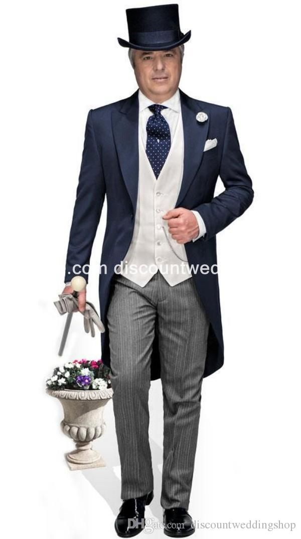 Morning Style One Button Navy Blue Groom Tuxedos Peak Lapel ...